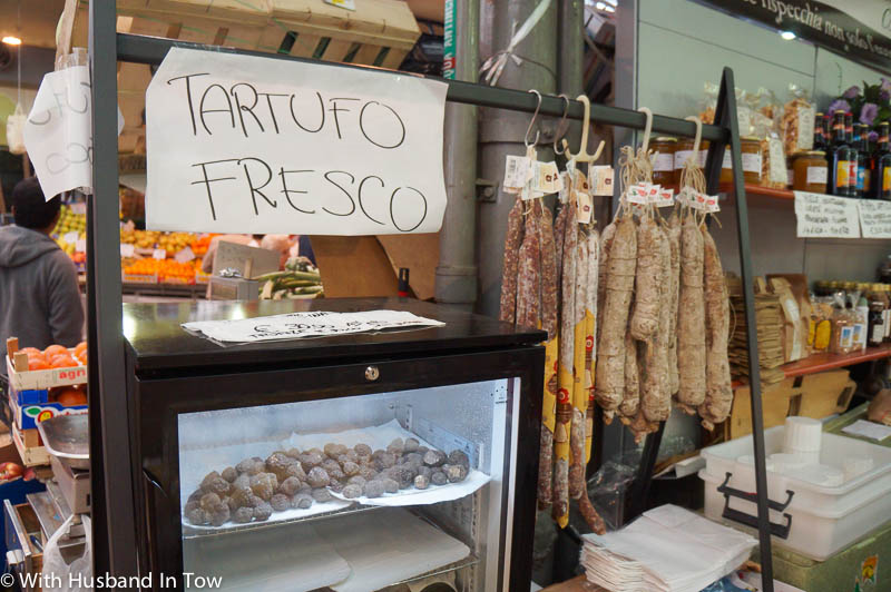 Truffles or tartufo at the Modena food market in Italy