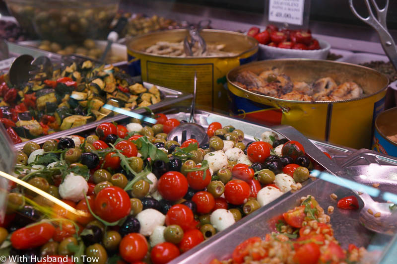 Fresh Italian olives at the Modena food market