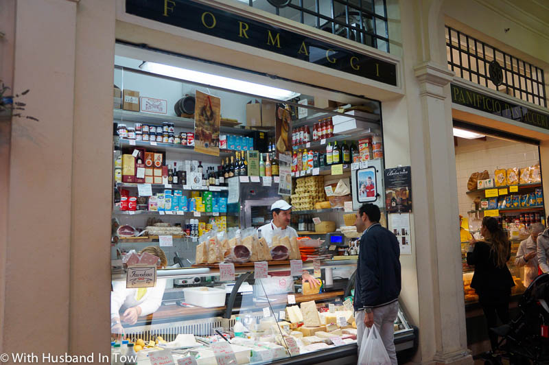 Shoppin at Casa del Formaggio in the Modena food market