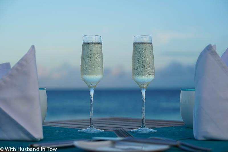 Maldives sunset dinner
