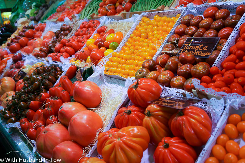 tomatoes at Barcelona market