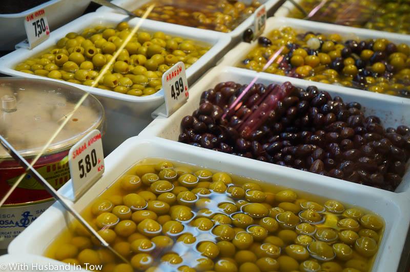 Olives at Barcelona Food Market