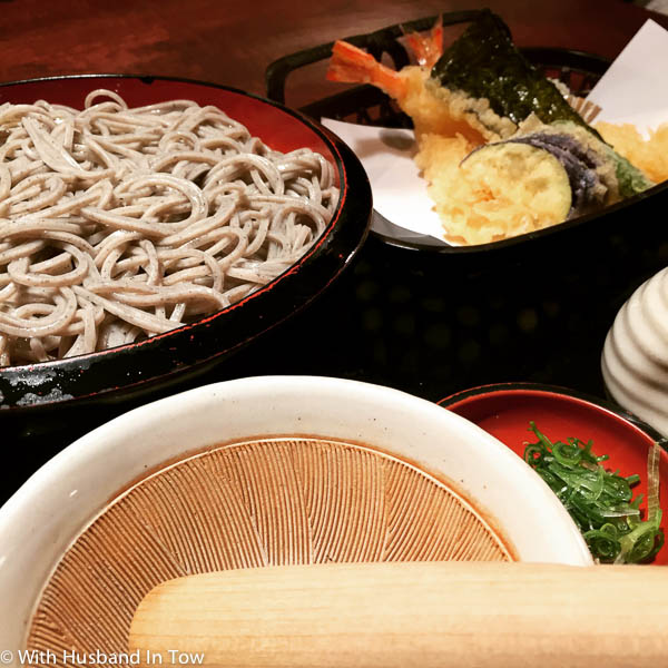 eating soba noodles in Osaka Japan
