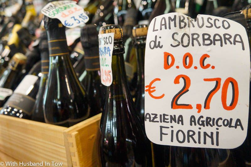 Lambrusco sparkling red wine at the Modena food market