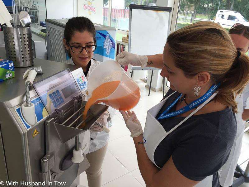 Learning how to make gelato at Carpigiani Gelato University