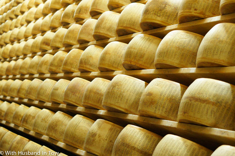 Aging Italian cheese on our Culinary travels along Via Emilia