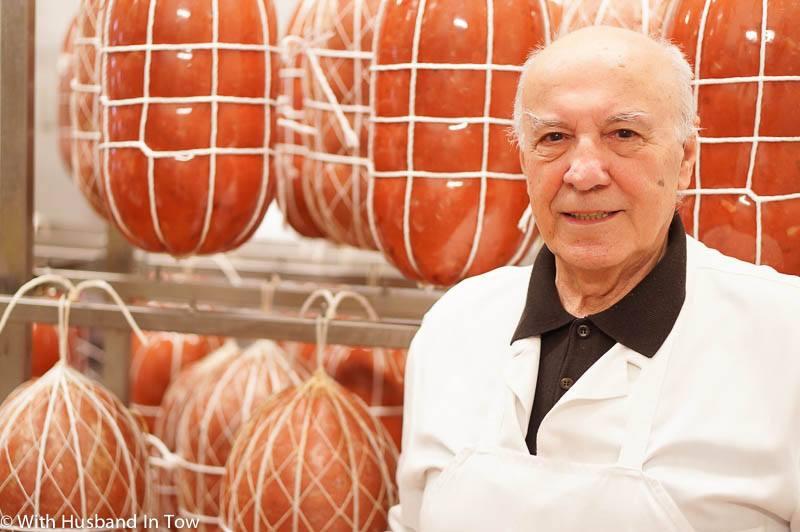 Mr. Pasquini produces Mortadella in Bologna