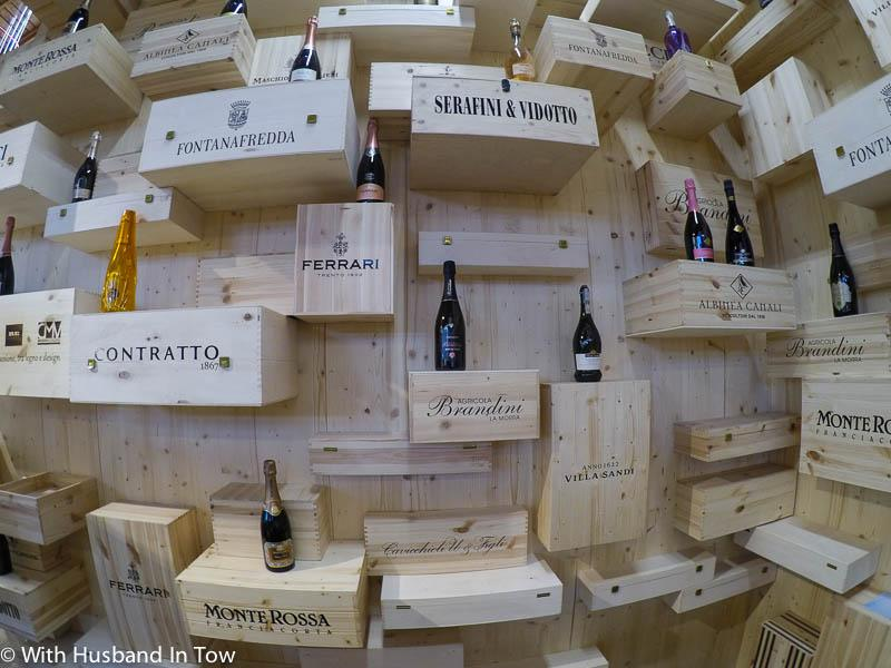 Visiting Eataly World - wooden wine racks