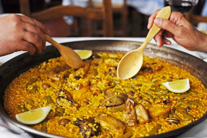 eating Paella in Valencia