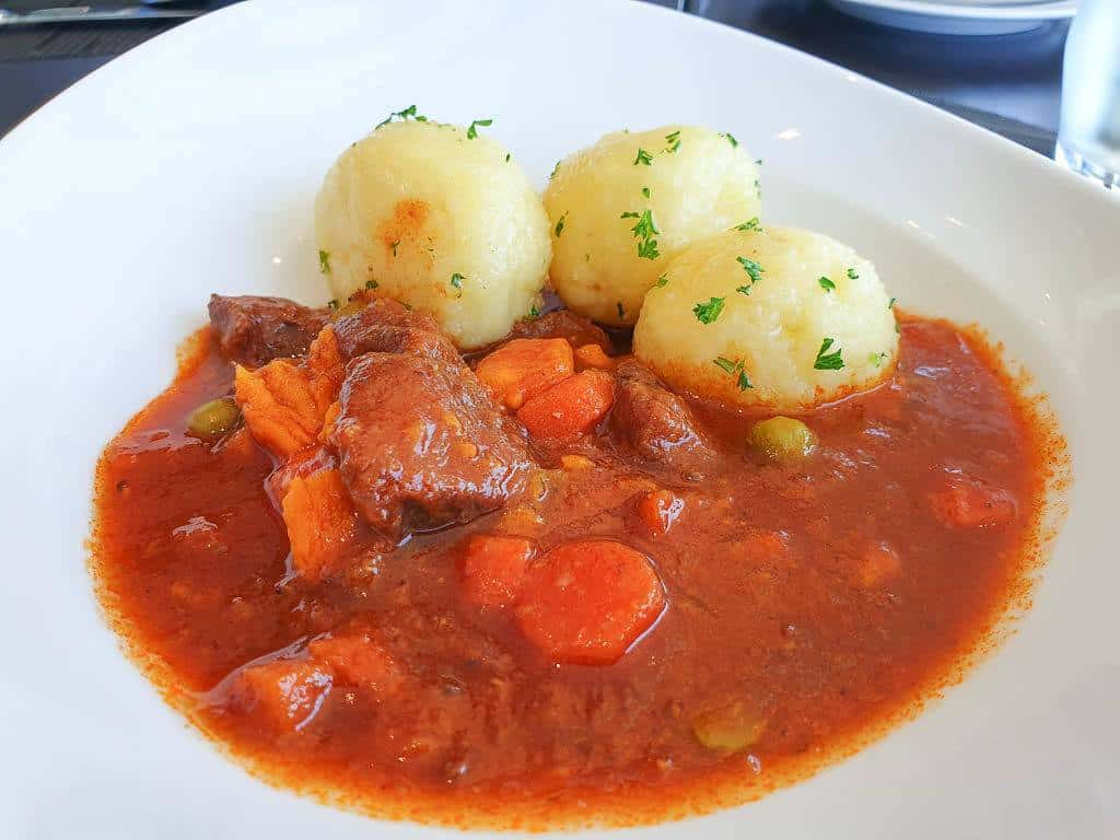 Austrian goulash and dumplings