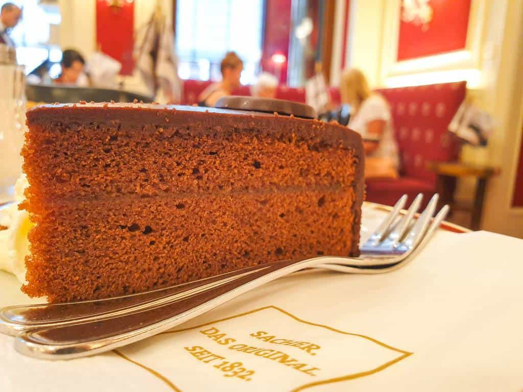 Eating sachertorte in Vienna