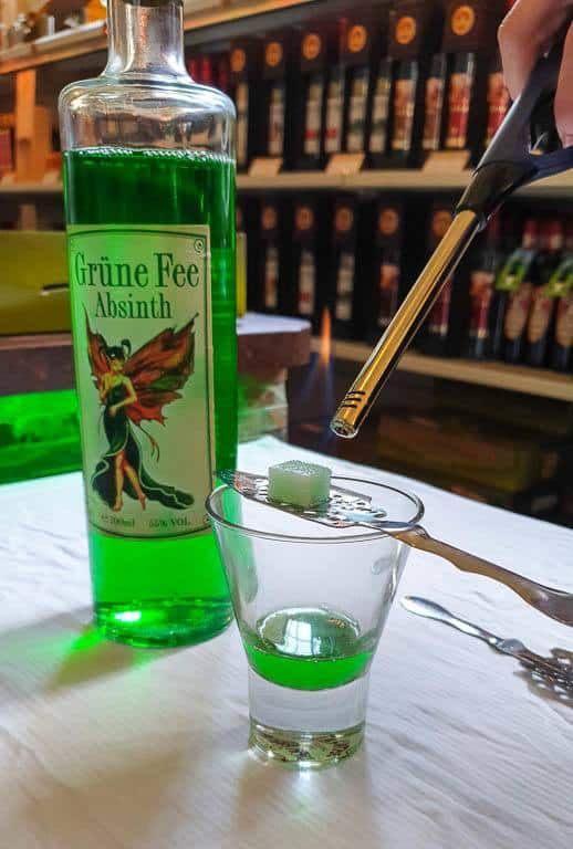 drinking absinthe in Vienna